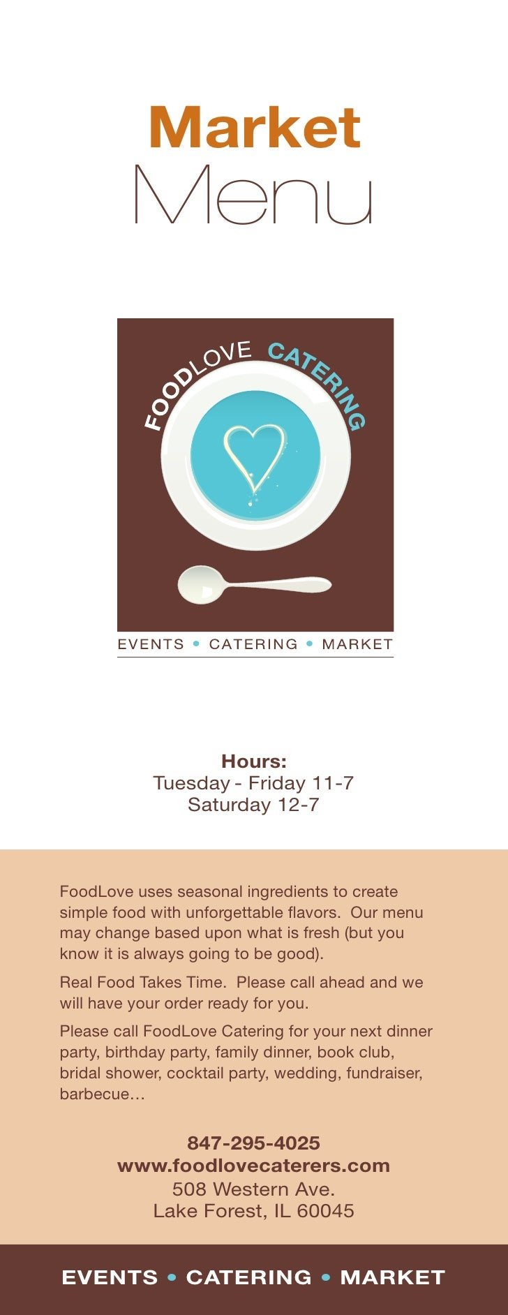 Market          Menu                       Hours:             Tuesday - Friday 11-7                Saturday 12-7    FoodLo...