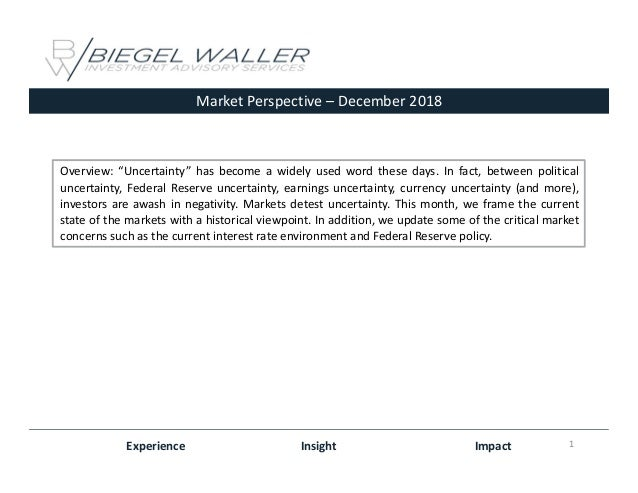 """MarketPerspective– December2018 Experience Insight Impact Overview: """"Uncertainty"""" has become a widely used word these d..."""