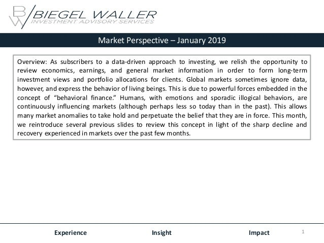 Market Perspective – January 2019 Experience Insight Impact Overview: As subscribers to a data-driven approach to investin...