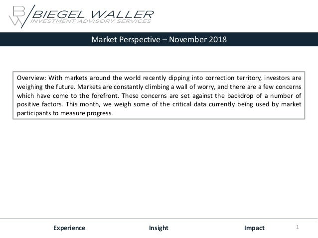 Market Perspective – November 2018 Experience Insight Impact Overview: With markets around the world recently dipping into...