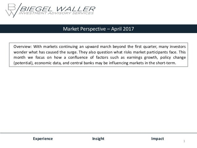 Market Perspective – April 2017 Experience Insight Impact Overview: With markets continuing an upward march beyond the fir...