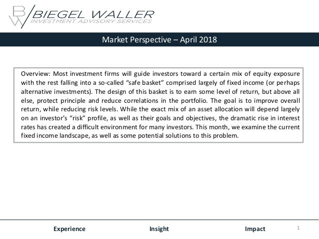 Market Perspective – April 2018 Experience Insight Impact Overview: Most investment firms will guide investors toward a ce...
