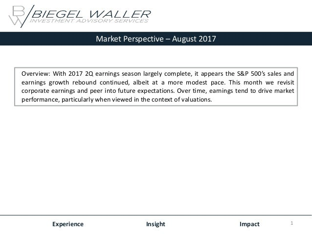Market Perspective – August 2017 Experience Insight Impact Overview: With 2017 2Q earnings season largely complete, it app...