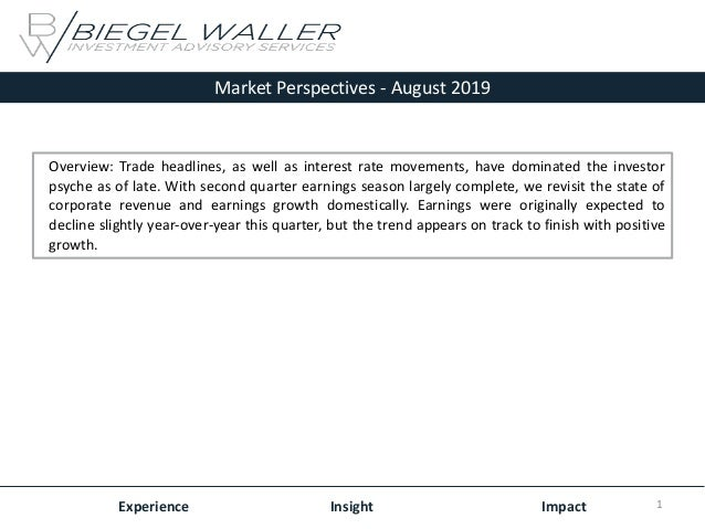Market Perspectives - August 2019 Experience Insight Impact Overview: Trade headlines, as well as interest rate movements,...