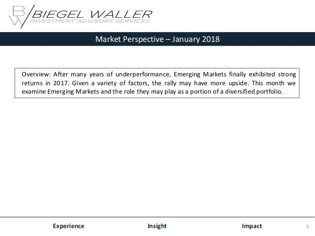 Market Perspective – January 2018 Experience Insight Impact Overview: After many years of underperformance, Emerging Marke...