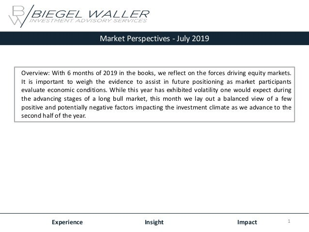 Market Perspectives - July 2019 Experience Insight Impact Overview: With 6 months of 2019 in the books, we reflect on the ...