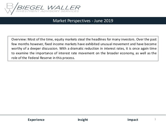Market Perspectives - June 2019 Experience Insight Impact Overview: Most of the time, equity markets steal the headlines f...