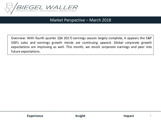 Market Perspective – March 2018 Experience Insight Impact Overview: With fourth quarter (Q4 2017) earnings season largely ...