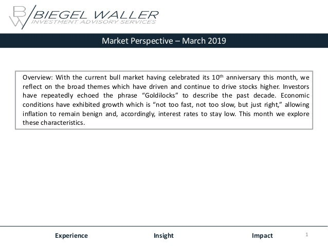 Market Perspective – March 2019 Experience Insight Impact Overview: With the current bull market having celebrated its 10t...