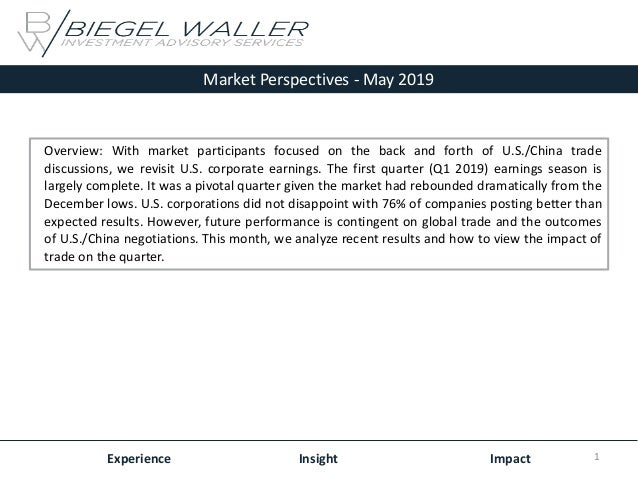 Market Perspectives - May 2019 Experience Insight Impact Overview: With market participants focused on the back and forth ...