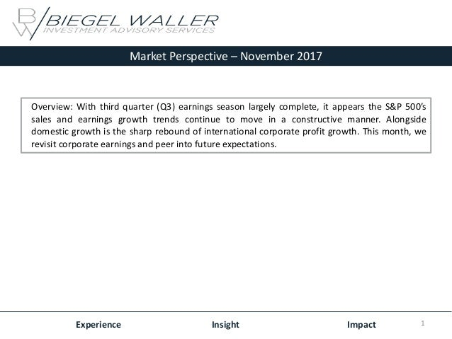 Market Perspective – November 2017 Experience Insight Impact Overview: With third quarter (Q3) earnings season largely com...