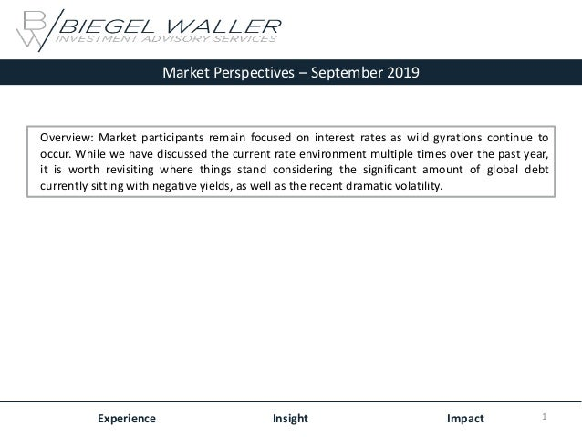 Market Perspectives – September 2019 Experience Insight Impact Overview: Market participants remain focused on interest ra...