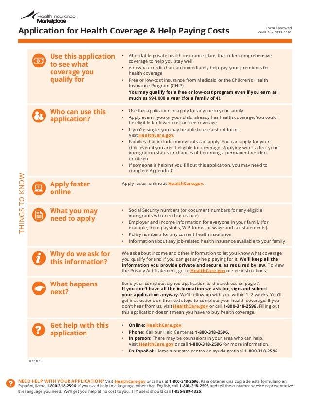 Obamacare Health Care Application Form on