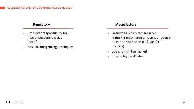 SUCCESS FACTORS FOR JOB MARKETPLACE MODELS 27 Regulatory - Employer responsibility for insurance/pension/sick leave/… - Ea...
