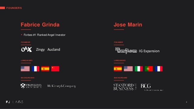 FOUNDERS Fabrice Grinda • Forbes #1 Ranked Angel Investor LANGUAGES BACKGROUND Jose Marin LANGUAGES BACKGROUND 3 FOUNDER F...