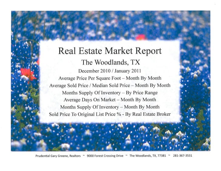 Real Estate Market Report  The Woodlands, TX- Dec 2010-January 2011 from Laurie Reinsmith