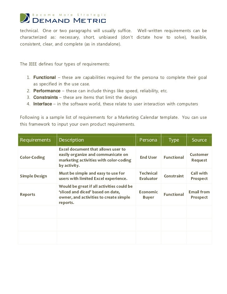 Market Requirements Document - Marketing requirements document template