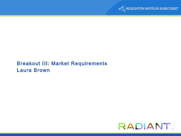 Breakout III: Market Requirements Laura Brown
