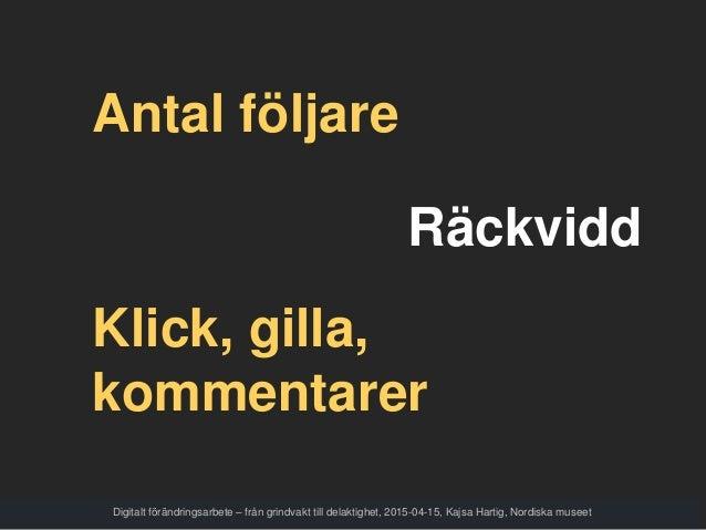 Digitalt förändringsarbete – från grindvakt till delaktighet, 2015-04-15, Kajsa Hartig, Nordiska museet Antal följare Räck...