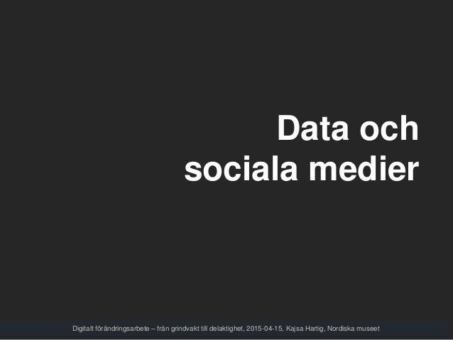 Data och sociala medier Digitalt förändringsarbete – från grindvakt till delaktighet, 2015-04-15, Kajsa Hartig, Nordiska m...