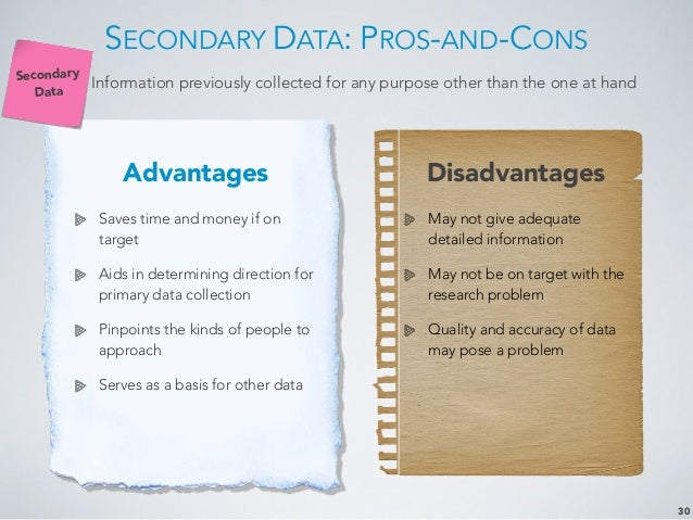 pros and cons of primary and secondary data Cons: the publishing process for books takes time, so they are not always the   scholarly articles are primary resources for academic assignments and  pros:  popular articles are great sources of information on current events  news film  footage, official records, photographs, raw research data, speeches.