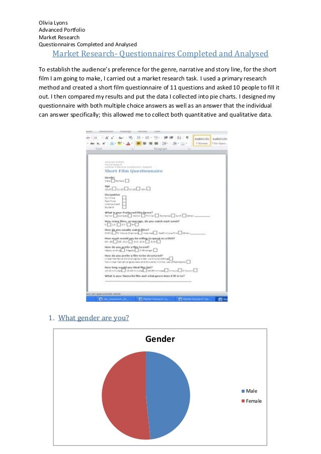 Olivia LyonsAdvanced PortfolioMarket ResearchQuestionnaires Completed and Analysed     Market Research- Questionnaires Com...