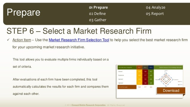 Download STEP 6 – Select a Market Research Firm  Action Item – Use the Market Research Firm Selection Tool to help you se...