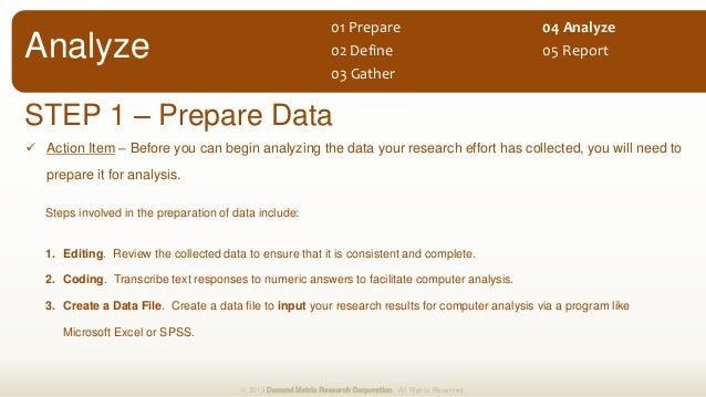  Action Item – Before you can begin analyzing the data your research effort has collected, you will need to prepare it fo...