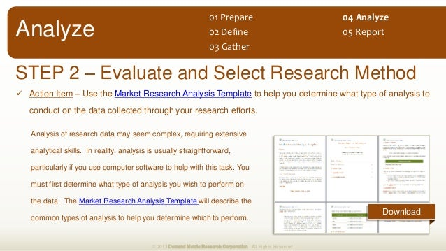  Action Item – Use the Market Research Analysis Template to help you determine what type of analysis to conduct on the da...