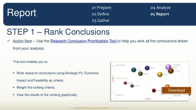 STEP 1 – Rank Conclusions  Action Item – Use the Research Conclusion Prioritization Tool to help you rank all the conclus...