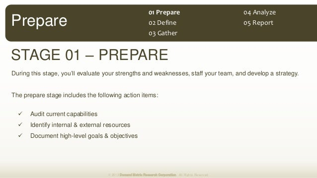 Prepare STAGE 01 – PREPARE During this stage, you'll evaluate your strengths and weaknesses, staff your team, and develop ...