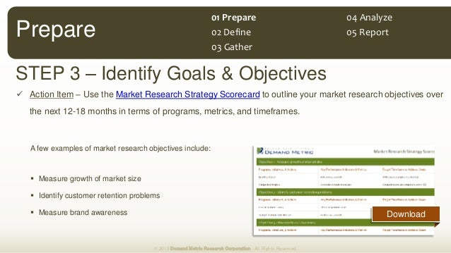 STEP 3 – Identify Goals & Objectives © 2013 Demand Metric Research Corporation. All Rights Reserved. Prepare 01 Prepare 02...