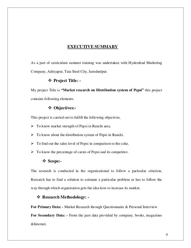 Sample executive summary for term paper – Executive Summary Format for Project Report