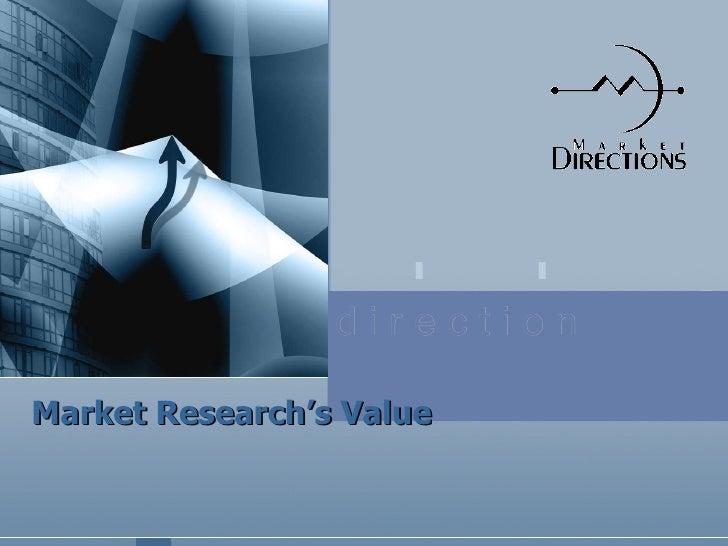 Market Research's Value d i r e c t i o n