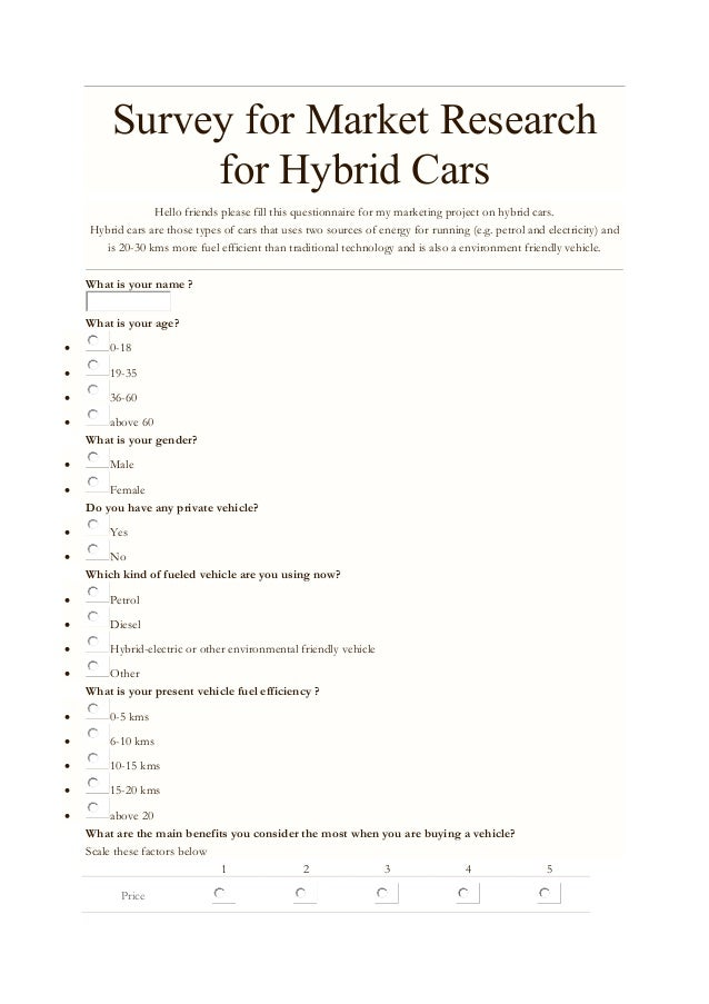 Market Research Project On Hybrid Cars