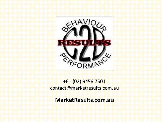 +61 (02) 9456 7501 contact@marketresults.com.au MarketResults.com.au