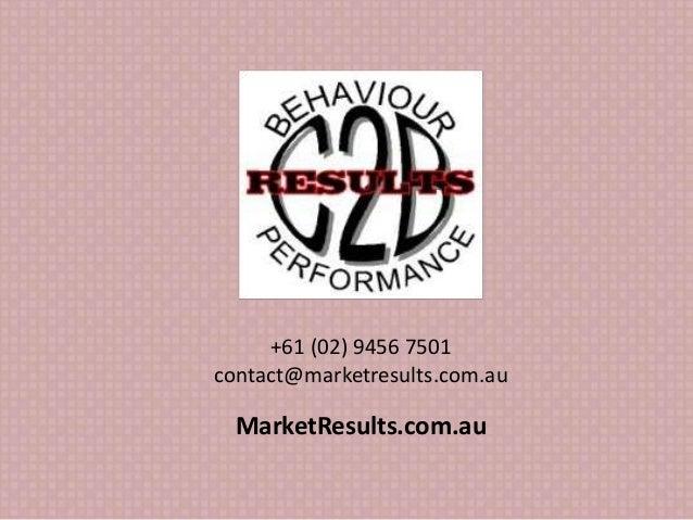 +61 (02) 9456 7501 contact@marketresults.com.au MarketResults.com.au