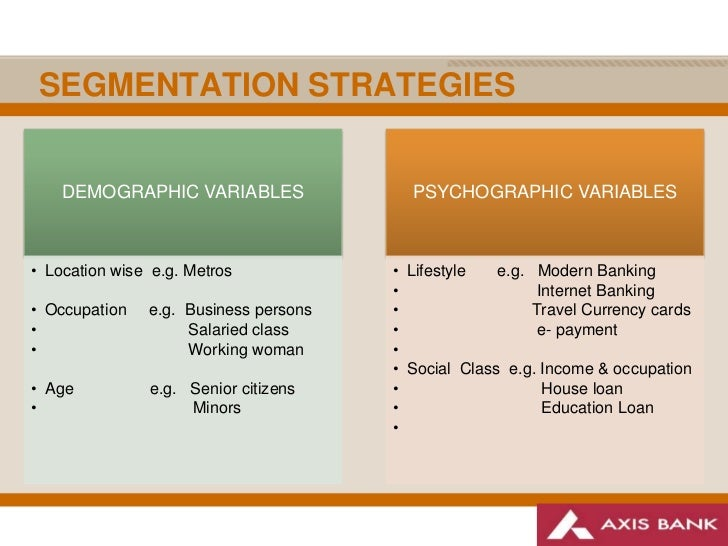 cultural factors and segment variables Identify the factors for segmentation keywords: segmentation, psychographic variables, factor analysis are losing their importance because of the cultural and.