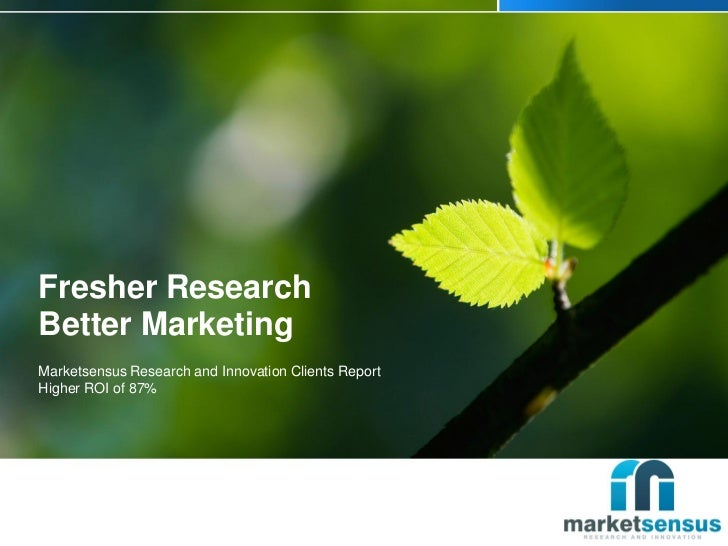 Fresher ResearchBetter MarketingMarketsensus Research and Innovation Clients ReportHigher ROI of 87%
