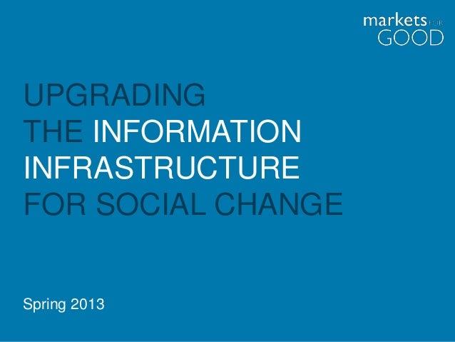 UPGRADINGTHE INFORMATIONINFRASTRUCTUREFOR SOCIAL CHANGESpring 2013