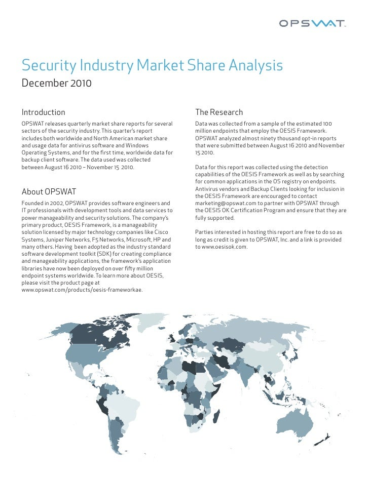 Security Industry Market Share AnalysisDecember 2010Introduction                                                   The Res...