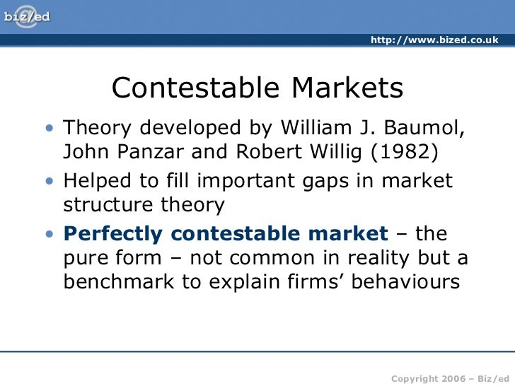 the theory of the contestable market The theory of contestable markets: applications to regulatory and antitrust problems in the rail industry (contributions in economics and economic history) by tye, william and a great.