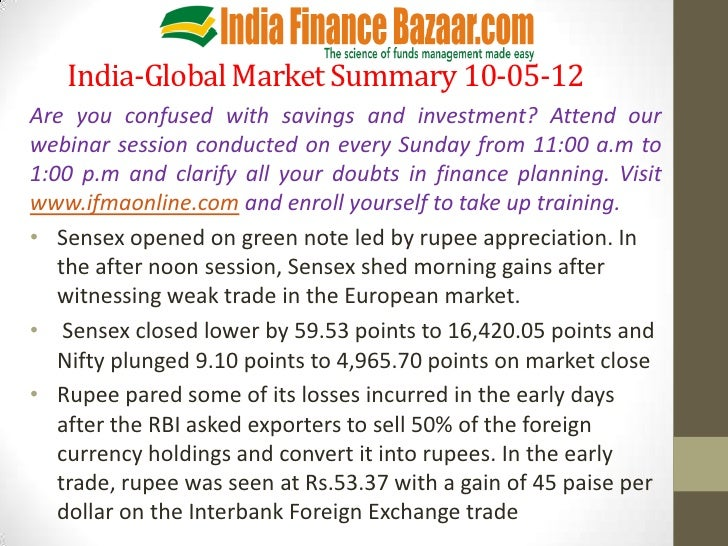India-Global Market Summary 10-05-12Are you confused with savings and investment? Attend ourwebinar session conducted on e...