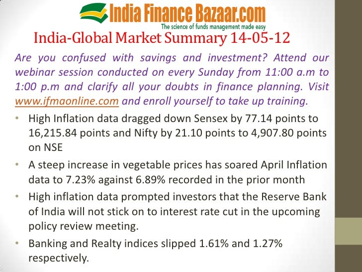 India-Global Market Summary 14-05-12Are you confused with savings and investment? Attend ourwebinar session conducted on e...