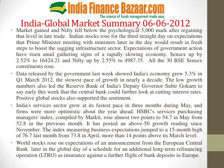 India-Global Market Summary 06-06-2012• Market gained and Nifty fell below the psychological 5,000 mark after regaining  t...