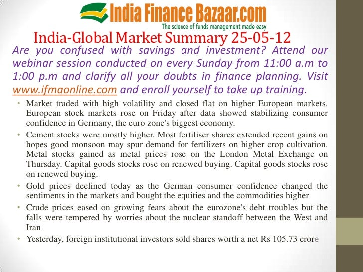 India-Global Market Summary 25-05-12Are you confused with savings and investment? Attend ourwebinar session conducted on e...