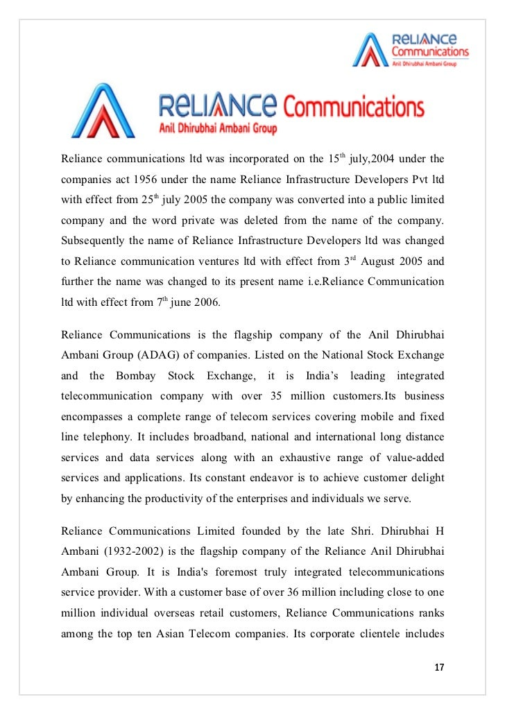 reliance communications marketing survey questions The world telecommunications market is expected to rise at an 11 percent  the  sample under consideration consisted of the existing customers of reliance   the survey helps to find out the loopholes is the area of service being offered by .