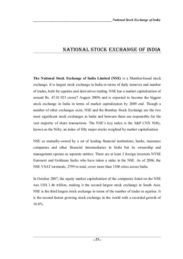 stock exchanges comparative analysis between india A comparative analysis of the efficiency of the stock markets of india 121 nevertheless, as per this test, none of the two stock exchanges follow the theory of.