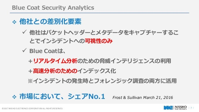 | 7 |©2017 NISSHO ELECTRONICS CORPORATION ALL RIGHTS RESERVED. Blue Coat Security Analytics  他社との差別化要素  他社はパケットヘッダーとメタデー...