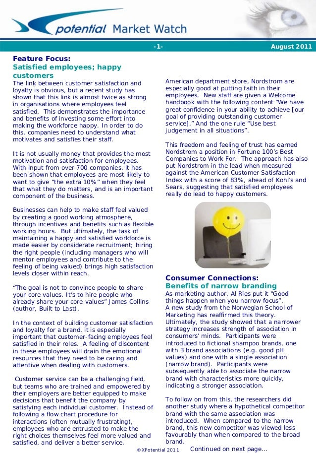 ©XPotential 2011 August 2011 Feature Focus: Satisfied employees; happy customers The link between customer satisfaction an...